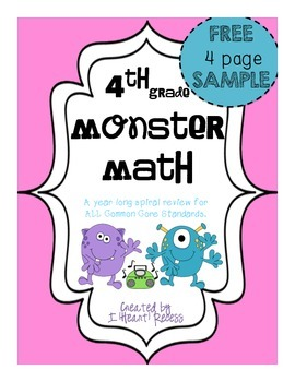 FOREVER FREEBIE:4th Grade Spiral Review: Monster Math Sample