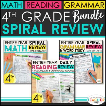 4th Grade Spiral Review & Quiz BUNDLE | Reading, Math, Language | ENTIRE YEAR!