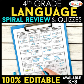 4th Grade Spiral Review Distance Learning Packet | Reading, Math, & Grammar