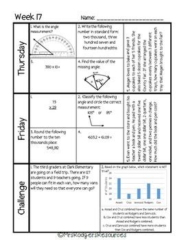 4th Grade Math Spiral Review (Weeks 17-20)