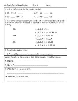 4th Grade Math Spring Break Packet, Common Core review, FL, AZ, TX, CA, NY, etc.