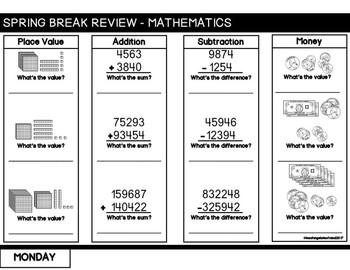 4th Grade Spring Break Review Packet Flipbook