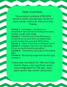 4th Grade St. Patrick's Day Math Centers