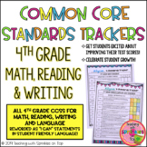 4th Grade Student Common Core Standards Trackers for Math, Reading & Writing