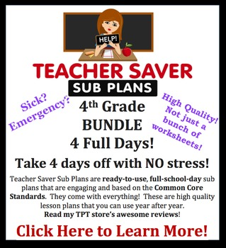4th Grade Sub Plans 4 Day BUNDLE - Organized, clear & engaging substitute plans.