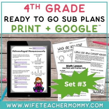 4th Grade Sub Plans Ready To Go for Substitute. DAY #3. No Prep. One full day.