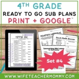4th Grade Sub Plans Set #4- Emergency Substitute Plans for Sub Tub