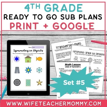 4th Grade Sub Plans Ready To Go for Substitute. DAY #5. No Prep. One full day.