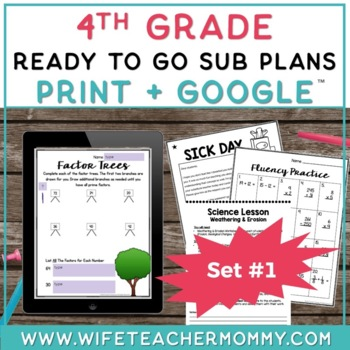 4th Grade Sub Plans Ready To Go for Substitute. No Prep. One full day.