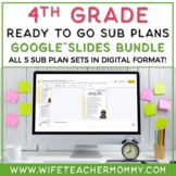4th Grade Sub Plans Ready To Go for Substitute. No Prep. THREE day bundle.