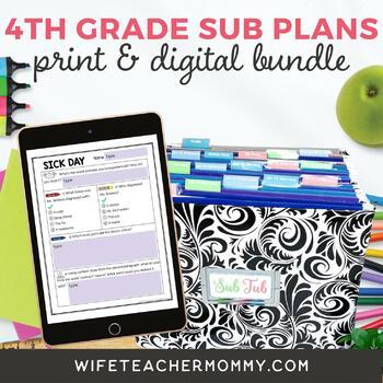 4th Grade Sub Plans- Emergency Substitute Plans Fourth Grade for Sub Tub