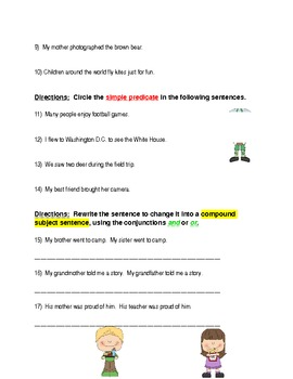 4th Grade Subject and Predicate Assessment
