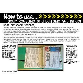 4th Grade Substitute Plans Reusable and Editable