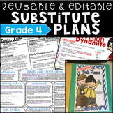 Emergency Sub Plans Grade 4 Editable