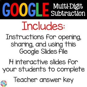 4th Grade Subtraction Digital Practice {4.NBT.4} - Use with Google Classroom