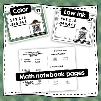 4th Grade Subtraction with Regrouping with self-checking QR Code Task Cards