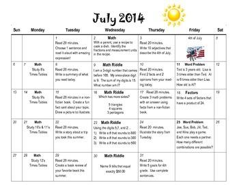 4th Grade Summer Calendar