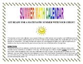 4th Grade Summer Math Calendars