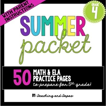 4th Grade Summer Packet Worksheets & Teaching Resources | TpT