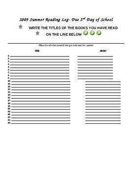 4th Grade Summer Reading Log