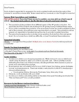4th G Math Summer Work Resources & Packet