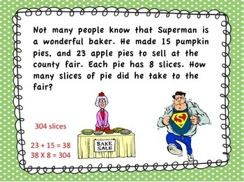 4th Grade Superhero Math Word Problem PowerPoint