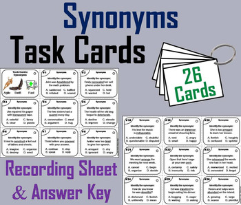 4th Grade Synonyms/ 5th Grade Synonyms/ 6th Grade Synonyms Task Cards
