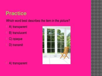 4th Grade TCAP Practice Transparent, Translucent, and Opaque Materials