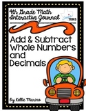 4th Grade TEKS Add and Subtract Whole Numbers and Decimals