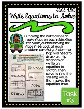 4th Grade TEKS Algebra with Multi Step Problems Interactive Journal