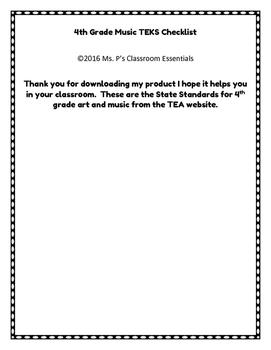 4th Grade TEKS Checklist (Art and Music)
