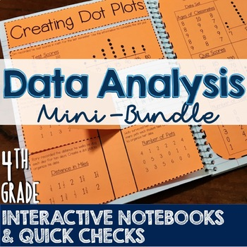 4th Grade TEKS Data Analysis Interactive Notebook & Quick Check Mini-Bundle