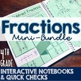 4th Grade TEKS Fractions Interactive Notebook & Quick Check Mini-Bundle