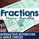 4th Grade TEKS Fractions Interactive Notebook & Quick Chec