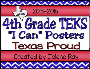 "4th Grade TEKS ""I Can"" Statement Poster Bundle: Texas Proud Theme"
