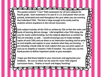 "4th Grade TEKS ""I Can"" Statements -  2015 All Core Subjects"