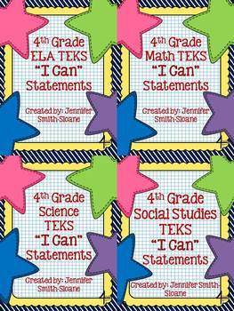 """Fourth Grade TEKS """"I Can"""" Statements Bundle- All 4 Core Subjects"""