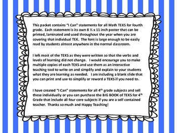 "4th Grade TEKS ""I Can"" Statements - Math 2015"