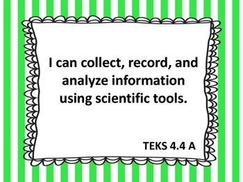 """4th Grade TEKS """"I Can"""" Statements - Science 2015"""