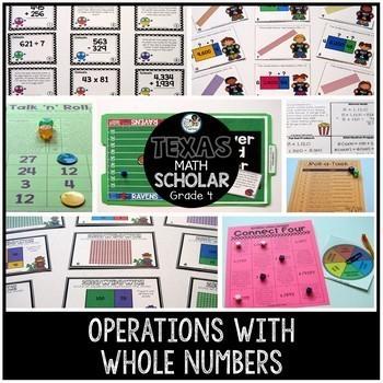 4th Grade TEKS Math Activities & Printables GROWING Bundle