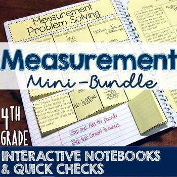 4th Grade TEKS Measurement Interactive Notebook & Quick Checks Mini-Bundle