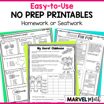 4th Grade TEKS Measurement Printables by Marvel Math