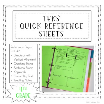 4th Grade TEKS Quick Reference Sheets