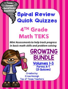 4th Grade TEKS Spiral Review Quick Quizzes GROWING BUNDLE Vol. 1-3