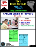 4th Grade TEKS TX Tornado Spiral Review BUNDLE Sets 1-30 (30 weeks) for STAAR!