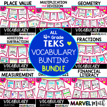 4th Grade TEKS Vocabulary Bunting Bundle for Word Wall