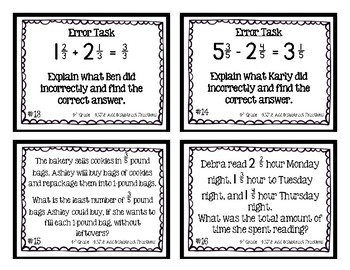 4th Grade Task Cards| Add & Subtract Fractions 4.NF.3