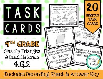 4th Grade Task Cards   Classify Triangles and Quadrilaterals 4.G.2