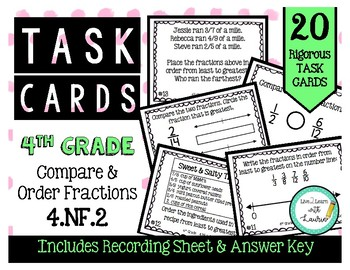 4th Grade Task Cards| Compare & Order Fractions 4.NF.2