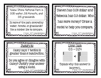 4th Grade Task Cards| Comparing Decimals 4.NF.7